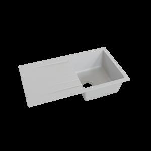Évier RESIROC avec 1 bac + égouttoir 86cm - Gris