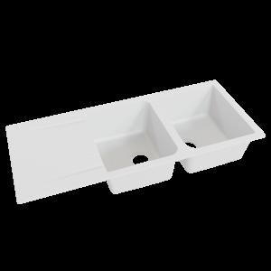 Évier RESIROC avec 2 bacs + égouttoir 116cm - blanc