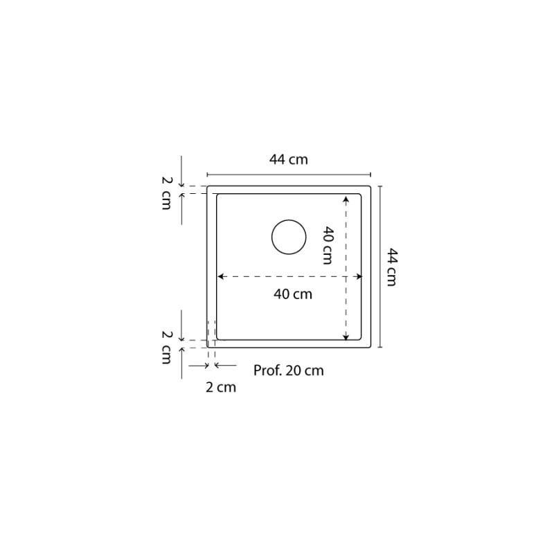 Cuve RESIROC - évier 1 bac sans égouttoir - 44 x 44 cm - Gris