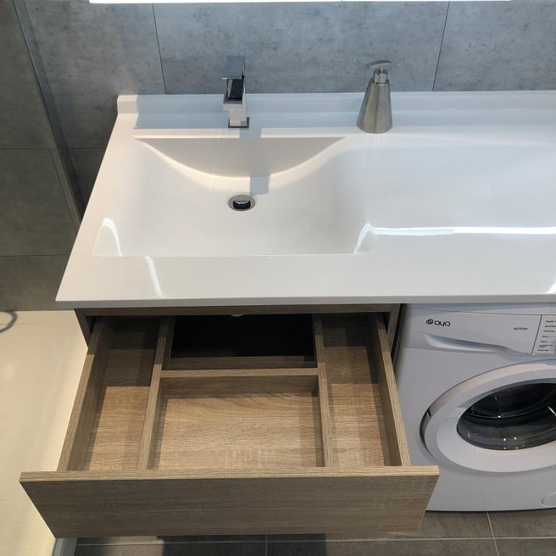 Meuble KORA LL 124 cm vasque déportée à droite - Cambrian Oak