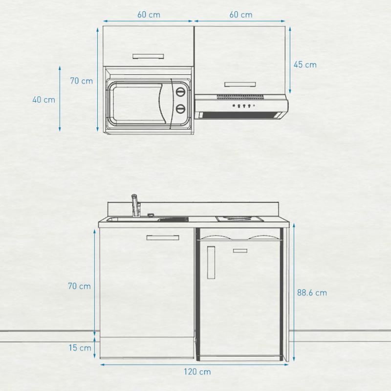 Kitchenette K02 - 120 cm avec emplacement frigo top, hotte et micro-ondes