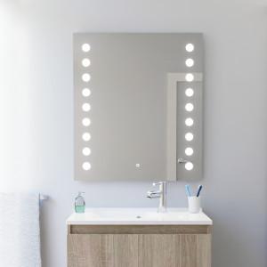 Miroir anti-buée STARLED 80x80 cm - éclairage intégré à LED et interrupteur sensitif