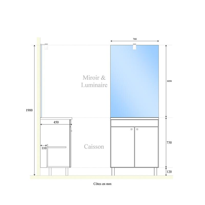 Meuble ECOLINE 70 cm avec plan vasque et miroir - Blanc brillant