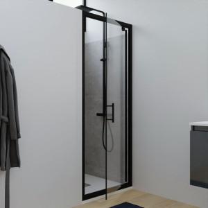 Porte de douche pivotante Black Mat NERINA 80 cm - 6mm