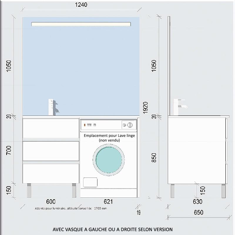 Meuble KORA LL 124 cm vasque déportée à droite - Blanc brillant