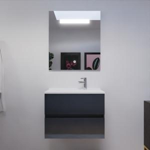 Meuble ROSALY 70 cm avec plan vasque et miroir - Gris anthracite