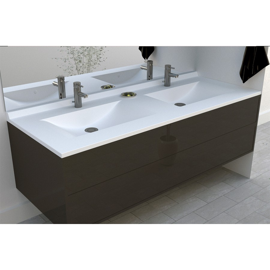 Plan double vasque en r sine de synth se r siplan 140 cm - Vasque double salle de bain ...