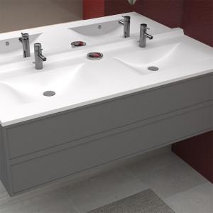 Plan double vasque en résine de synthèse RÉSIPLAN - 175 cm