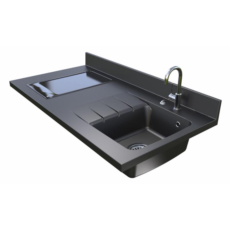 plan de travail monobloc planiquartz avec vier droite 120cm nero cuisibane. Black Bedroom Furniture Sets. Home Design Ideas