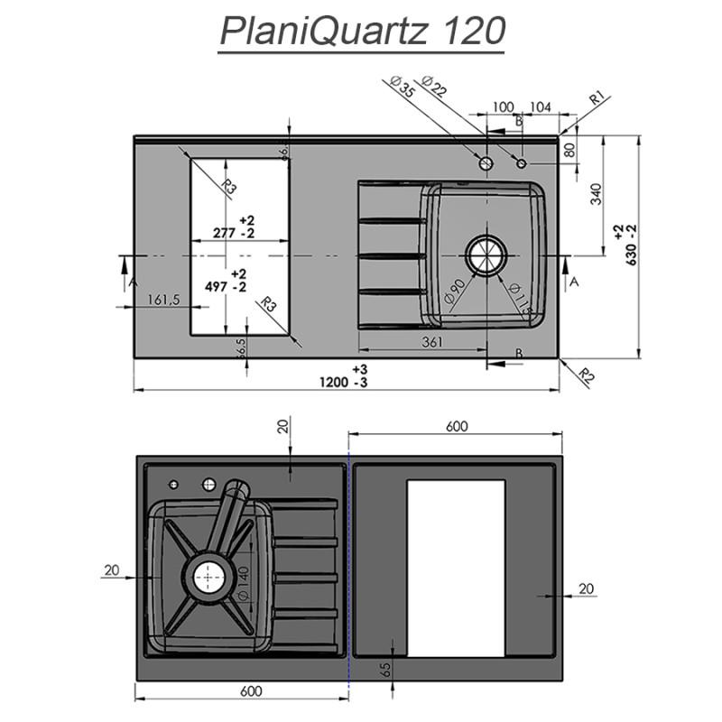 Plan de travail monobloc PlaniQuartz avec évier à droite - 120cm SNOVA