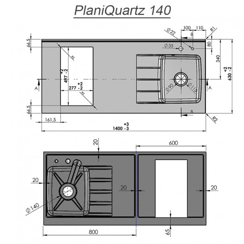 Plan de travail monobloc PlaniQuartz avec évier à gauche - 140cm NERO